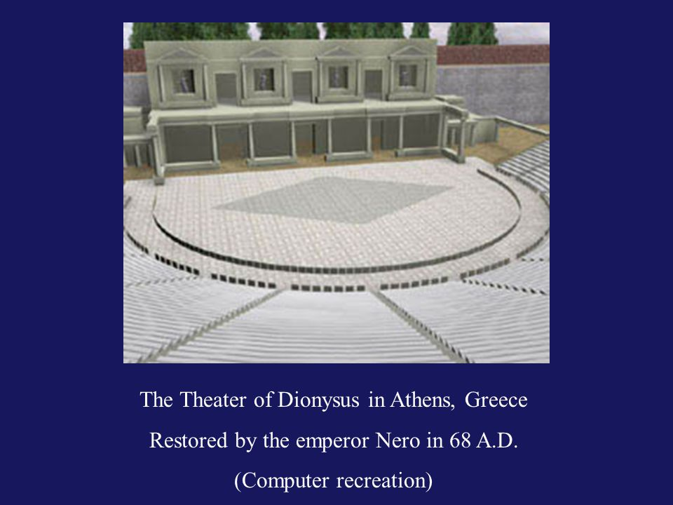 The Theater of Dionysus in Athens, Greece Restored by the emperor Nero in 68 A.D.