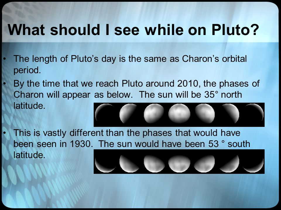 What should I see while on Pluto. The length of Pluto's day is the same as Charon's orbital period.
