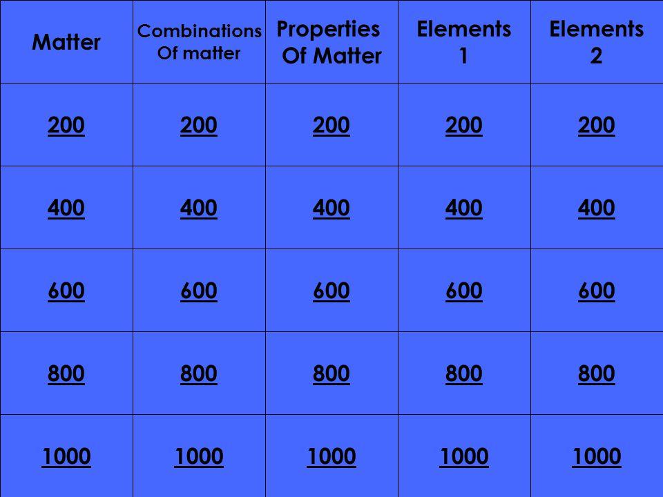 200 400 200 400 600 800 1000 800 1000 Matter Combinations Of matter Properties Of Matter Elements 1 Elements 2