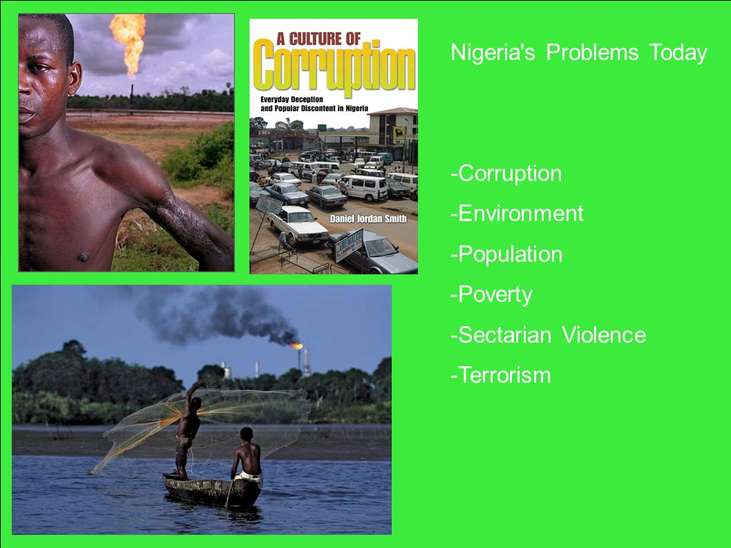 Nigeria s Problems Today -Corruption -Environment -Population -Poverty -Sectarian Violence -Terrorism