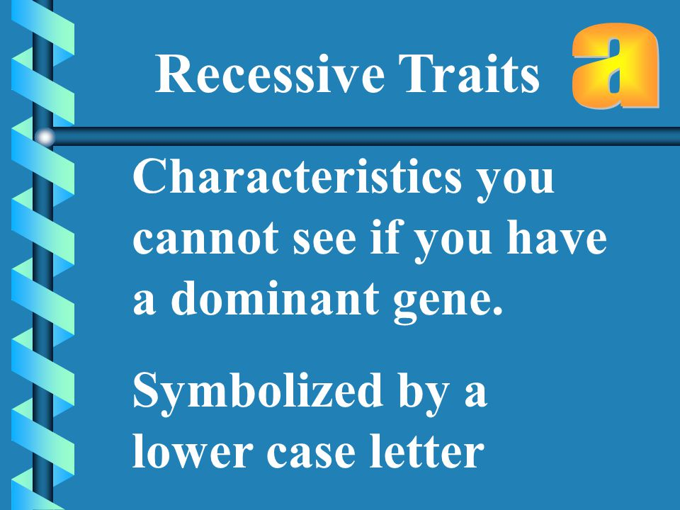 Recessive Traits Characteristics you cannot see if you have a dominant gene.