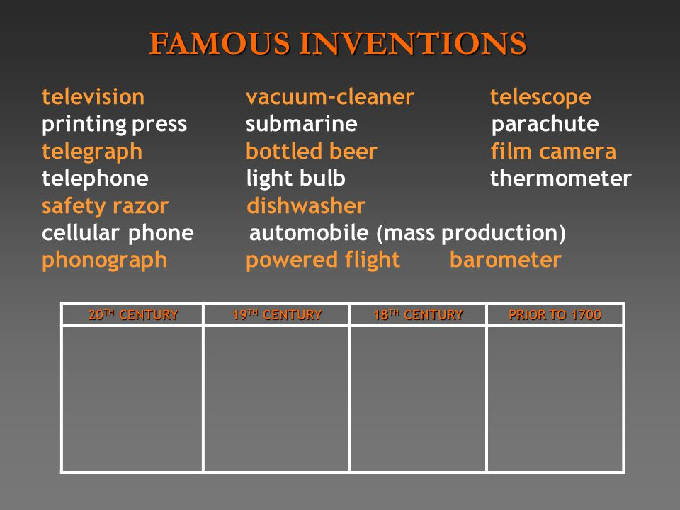 televisionvacuum-cleaner telescope printing presssubmarine parachute telegraphbottled beer film camera telephonelight bulb thermometer safety razor dishwasher cellular phone automobile (mass production) phonographpowered flightbarometer 20 TH CENTURY 19 TH CENTURY 18 TH CENTURY PRIOR TO 1700 FAMOUS INVENTIONS