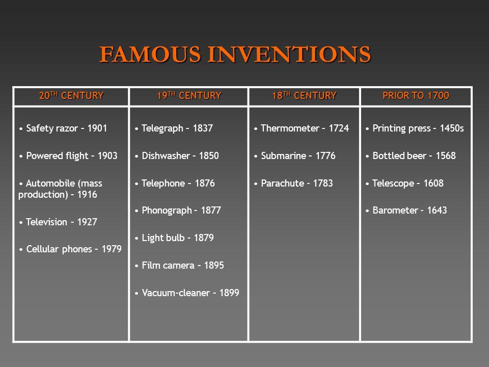 20 TH CENTURY 19 TH CENTURY 18 TH CENTURY PRIOR TO 1700 Safety razor – 1901 Powered flight – 1903 Automobile (mass production) – 1916 Television – 192