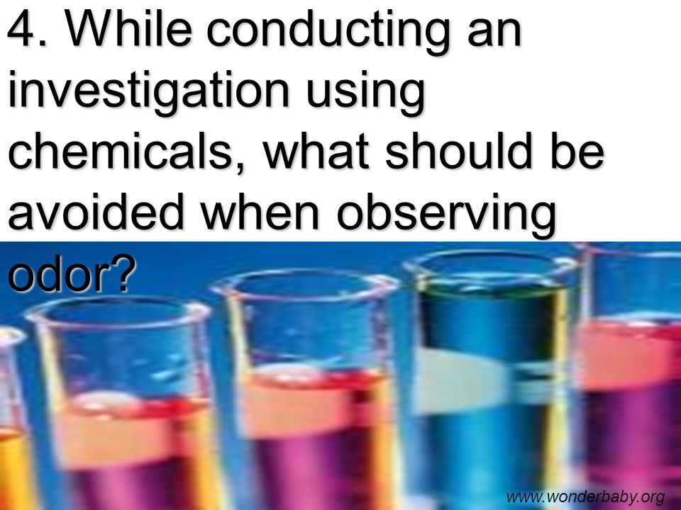 4. While conducting an investigation using chemicals, what should be avoided when observing odor.