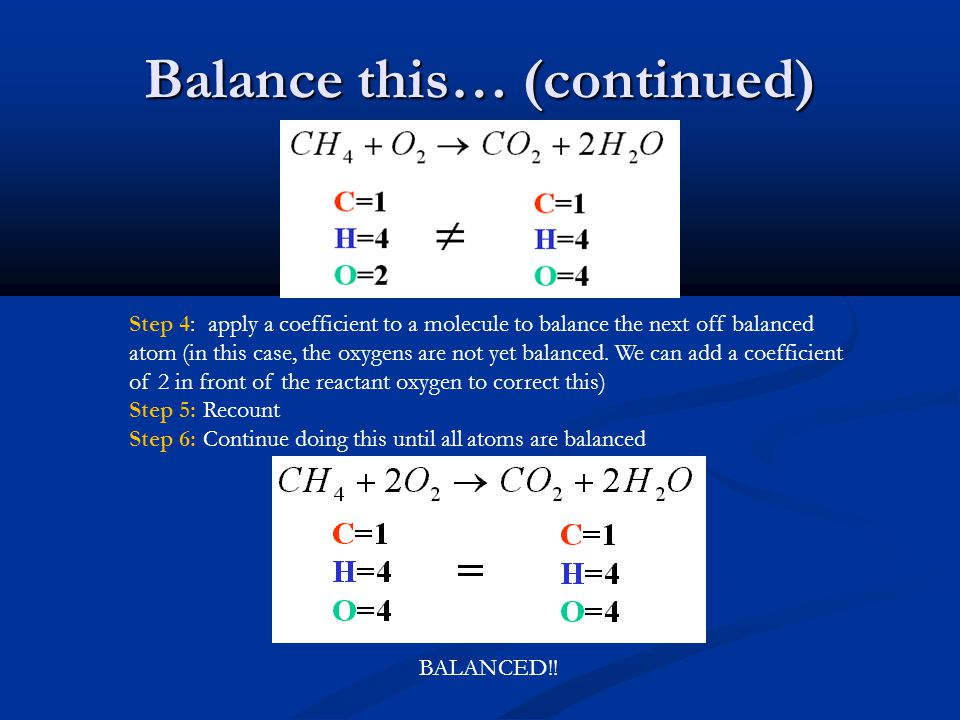 Balance this… (continued) Step 4: apply a coefficient to a molecule to balance the next off balanced atom (in this case, the oxygens are not yet balanced.