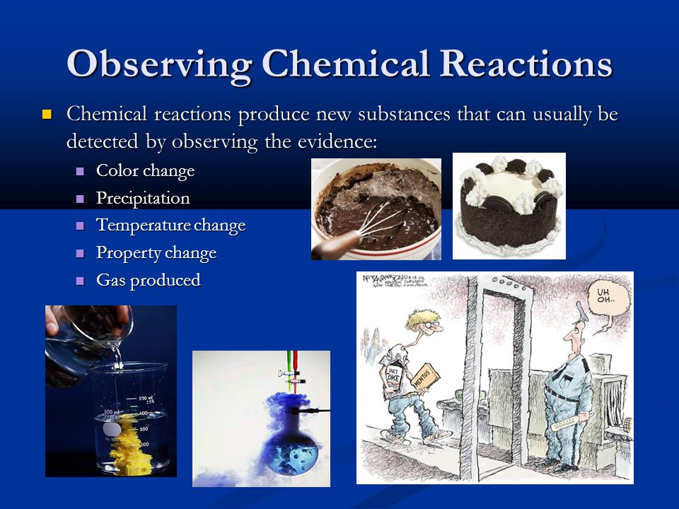 Observing Chemical Reactions Chemical reactions produce new substances that can usually be detected by observing the evidence: Chemical reactions produce new substances that can usually be detected by observing the evidence: Color change Color change Precipitation Precipitation Temperature change Temperature change Property change Property change Gas produced Gas produced