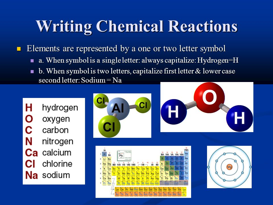 Writing Chemical Reactions Elements are represented by a one or two letter symbol Elements are represented by a one or two letter symbol a.