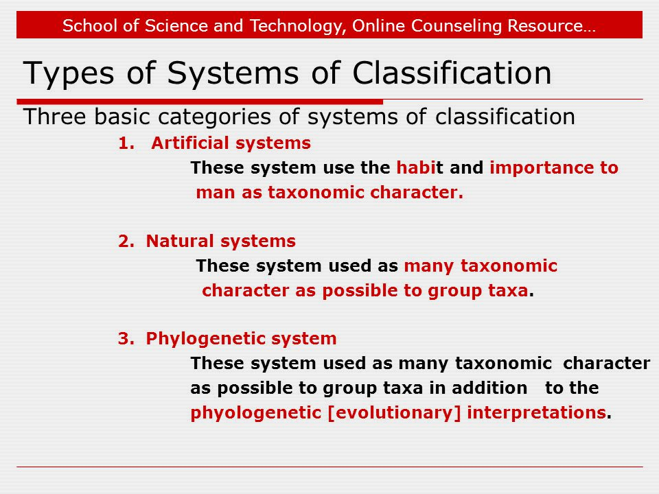 School of Science and Technology, Online Counseling Resource… Types of Systems of Classification Three basic categories of systems of classification 1.