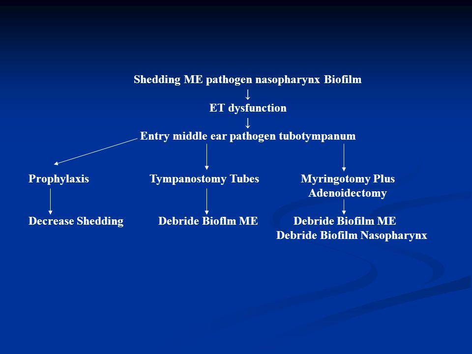 Shedding ME pathogen nasopharynx Biofilm ↓ ET dysfunction ↓ Entry middle ear pathogen tubotympanum Prophylaxis Tympanostomy Tubes Myringotomy Plus Ade