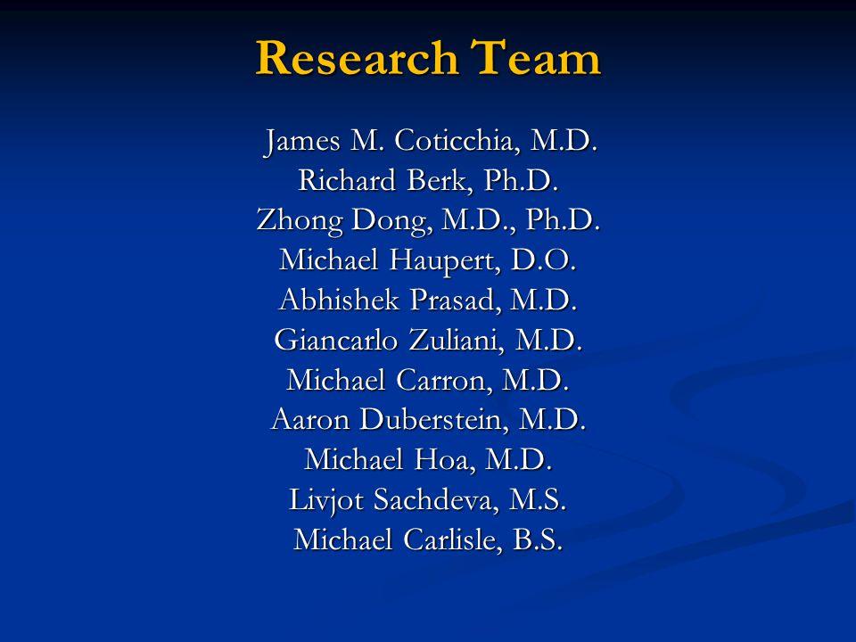 Research Team James M. Coticchia, M.D. James M. Coticchia, M.D. Richard Berk, Ph.D. Zhong Dong, M.D., Ph.D. Michael Haupert, D.O. Abhishek Prasad, M.D