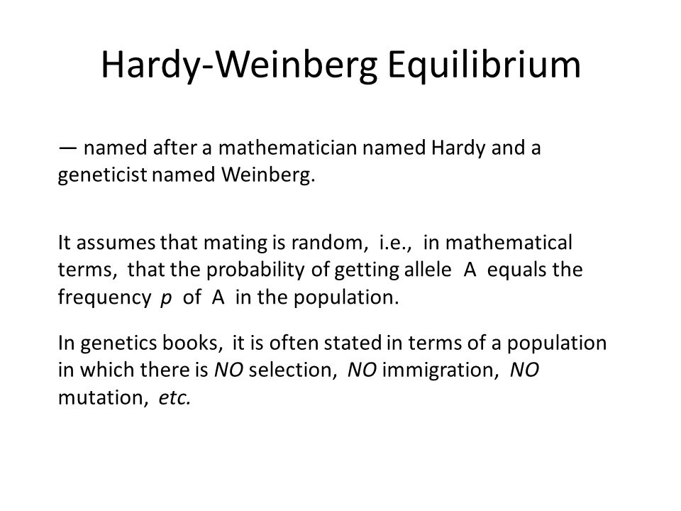 Hardy-Weinberg Equilibrium — named after a mathematician named Hardy and a geneticist named Weinberg.