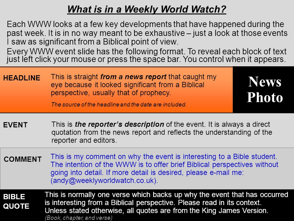 This Week's Developments To print any of the event slides that follow, click the picture on the upper right U.S.