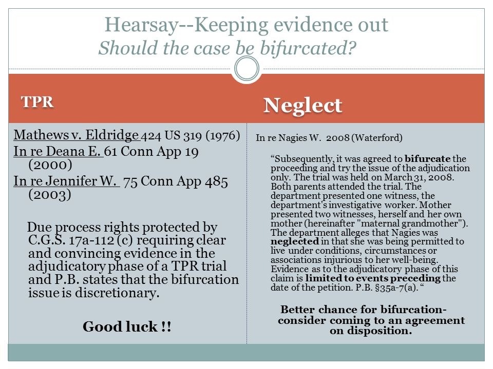 TPR Neglect Mathews v. Eldridge 424 US 319 (1976) In re Deana E.