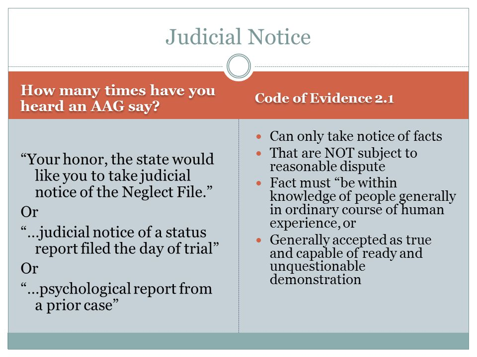 "How many times have you heard an AAG say? Code of Evidence 2.1 ""Your honor, the state would like you to take judicial notice of the Neglect File."" Or"