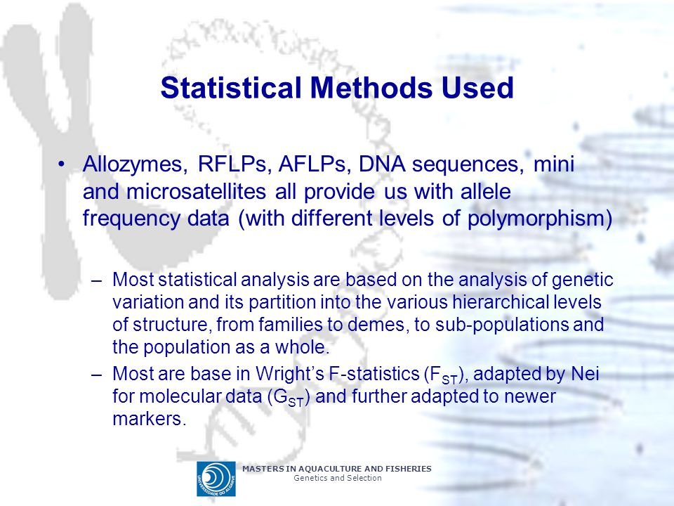 MASTERS IN AQUACULTURE AND FISHERIES Genetics and Selection Statistical Methods Used Allozymes, RFLPs, AFLPs, DNA sequences, mini and microsatellites all provide us with allele frequency data (with different levels of polymorphism) –Most statistical analysis are based on the analysis of genetic variation and its partition into the various hierarchical levels of structure, from families to demes, to sub-populations and the population as a whole.
