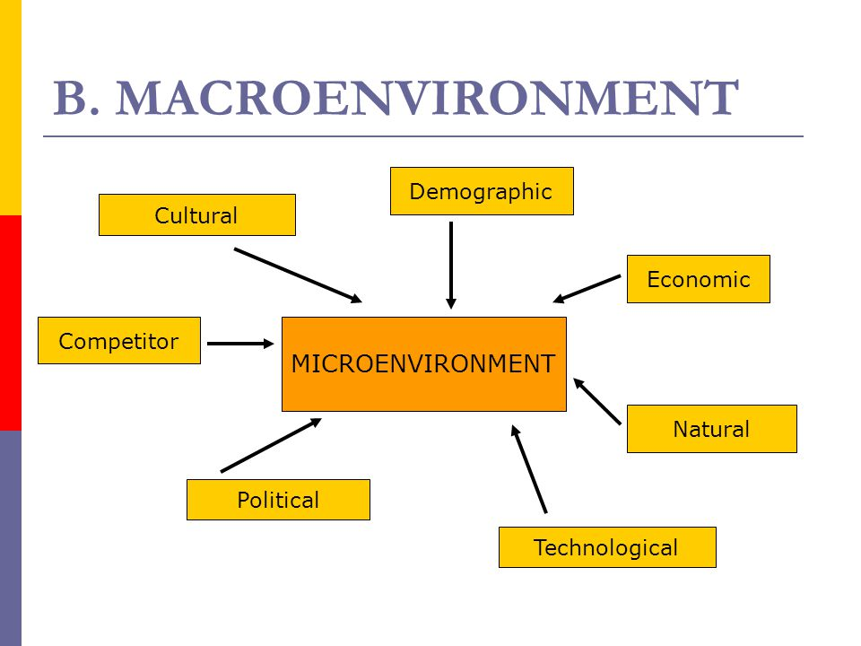 B. MACROENVIRONMENT MICROENVIRONMENT Demographic Economic Natural Technological Political Competitor Cultural