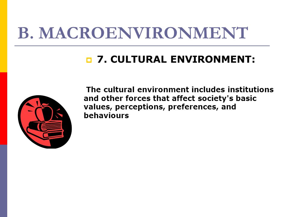 B. MACROENVIRONMENT 77. CULTURAL ENVIRONMENT: The cultural environment includes institutions and other forces that affect society's basic values, pe