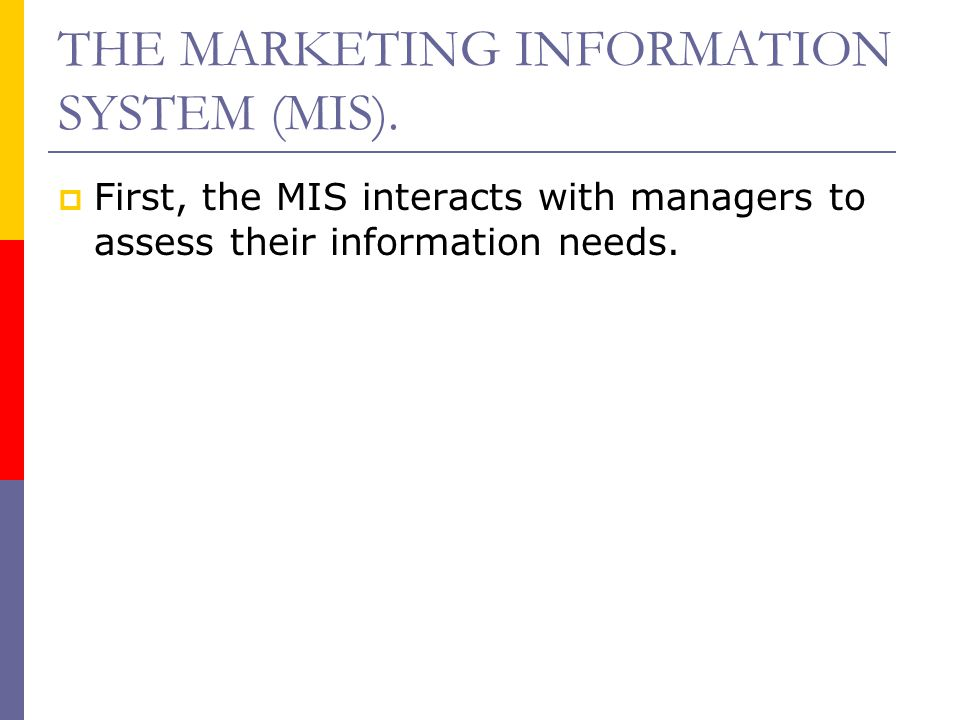 THE MARKETING INFORMATION SYSTEM (MIS).  First, the MIS interacts with managers to assess their information needs.