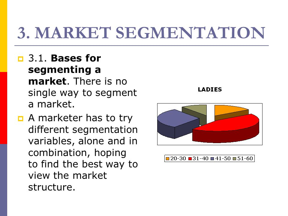 3. MARKET SEGMENTATION 33.1. Bases for segmenting a market. There is no single way to segment a market. AA marketer has to try different segmentat