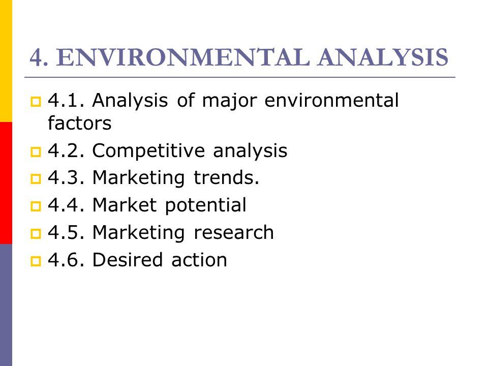 4. ENVIRONMENTAL ANALYSIS  4.1. Analysis of major environmental factors  4.2. Competitive analysis  4.3. Marketing trends.  4.4. Market potential