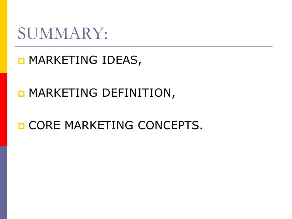 CORE MARKETING CONCEPTS  QUALITY can be defined as freedom from defects.