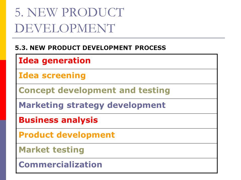 5. NEW PRODUCT DEVELOPMENT 5.3. NEW PRODUCT DEVELOPMENT PROCESS Idea generation Idea screening Concept development and testing Marketing strategy deve