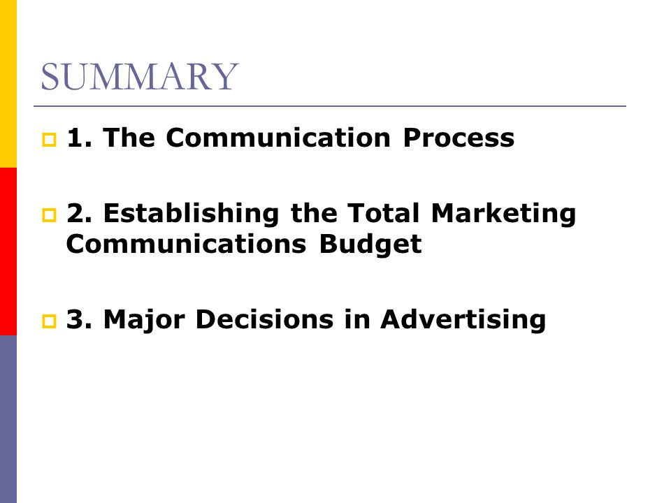 SUMMARY  1. The Communication Process  2. Establishing the Total Marketing Communications Budget  3. Major Decisions in Advertising
