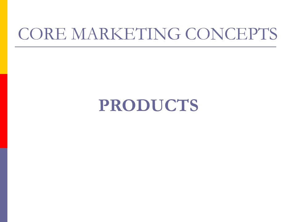 CORE MARKETING CONCEPTS PRODUCTS