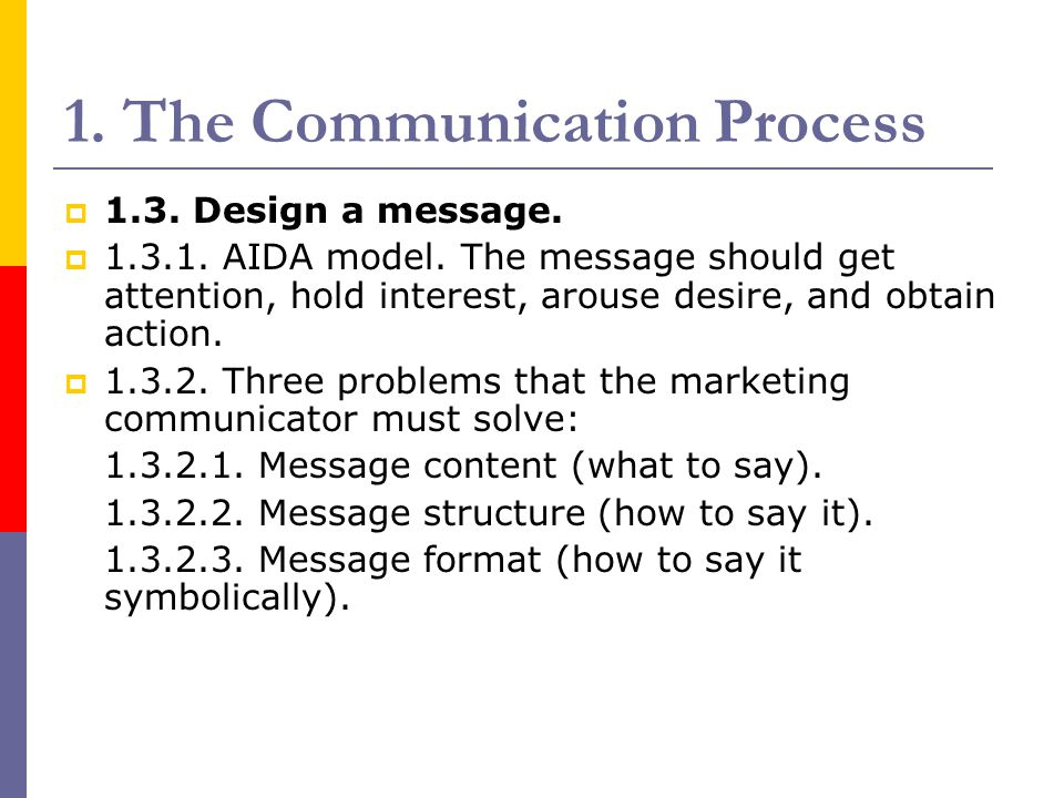 1. The Communication Process  1.3. Design a message.  1.3.1. AIDA model. The message should get attention, hold interest, arouse desire, and obtain