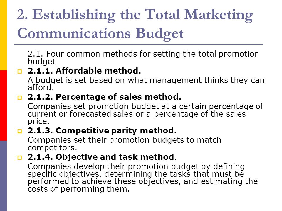 2. Establishing the Total Marketing Communications Budget 2.1. Four common methods for setting the total promotion budget  2.1.1. Affordable method.