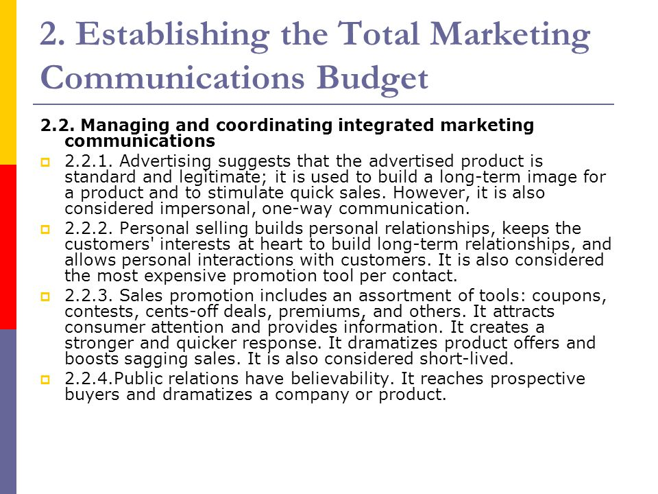 2. Establishing the Total Marketing Communications Budget 2.2. Managing and coordinating integrated marketing communications  2.2.1. Advertising sugg
