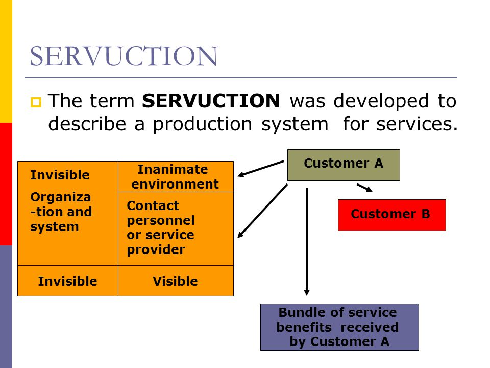 SERVUCTION  The term SERVUCTION was developed to describe a production system for services. Customer A Customer B Inanimate environment Invisible Org