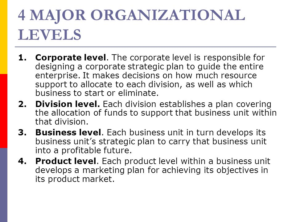 4 MAJOR ORGANIZATIONAL LEVELS 1. Corporate level. The corporate level is responsible for designing a corporate strategic plan to guide the entire ente