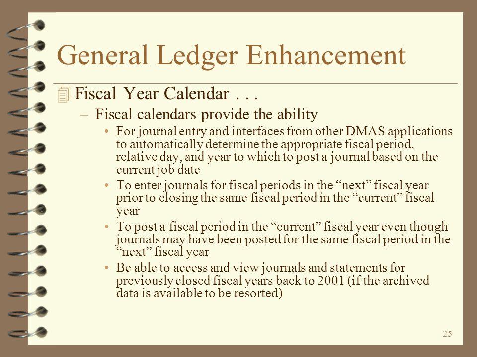 24 General Ledger Enhancement 4 Fiscal Year Calendar...