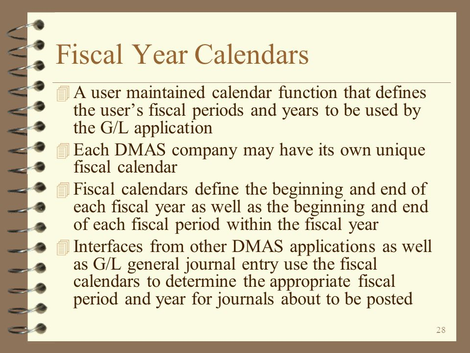 27 General Ledger Summary (click button to view detail) Enhancements for DMAS General Ledger Back to Title Page General Journal Entry Year-End Simulation G/L Account Inquiry G/L Interface from Other Apps Chart of Account Maintenance G/L Journal Inquiry G/L Downloads to PC Statement Format Maintenance Fiscal Year Calendars