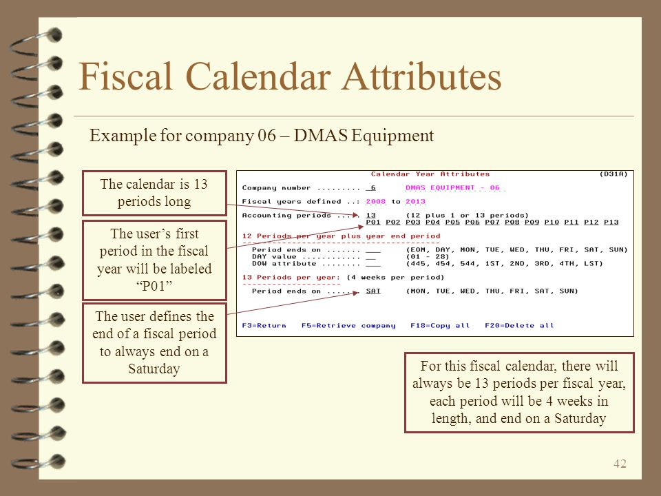 41 Fiscal Calendar Definition Example for company 05 – DMAS Electrical Return to Fiscal Calendar Examples The current fiscal year for this company is 2009 Each period starts on a Saturday...