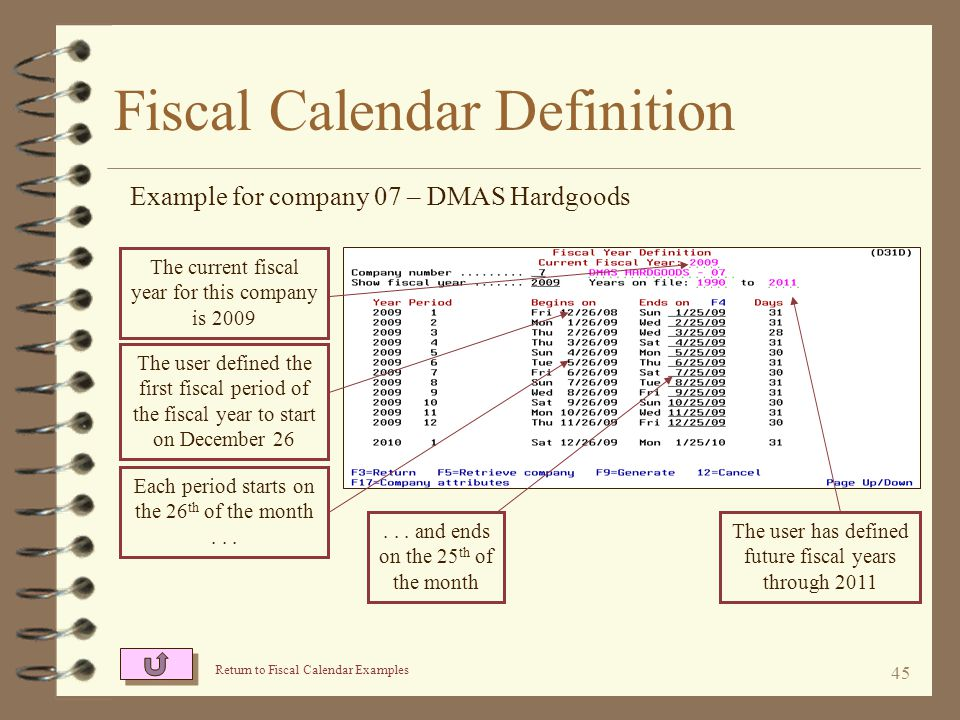 44 Fiscal Calendar Attributes Example for company 07 – DMAS Hardgoods The calendar is 12 periods long The user defines the end of a fiscal period to be on a particular day of the month This definition causes each fiscal period to close on the 25 th of each month The user's first period in the fiscal year will be Jan The user has defined the fiscal periods to always end on the 25th of the calendar month A 13 th period with no length is provided for year-end closing entries