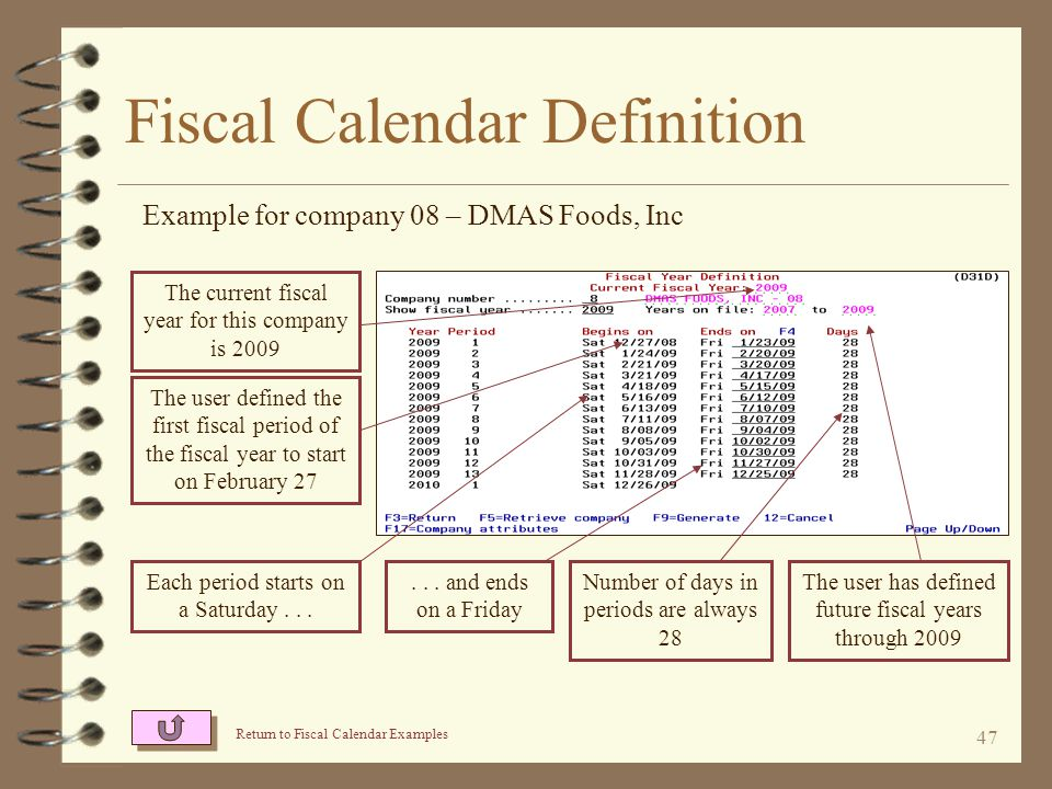 46 Fiscal Calendar Attributes Example for company 08 – DMAS Foods, Inc The calendar is 13 periods long For this fiscal calendar, there will always be 13 periods per fiscal year, each period will be 4 weeks in length, and end on a Friday The user's first period in the fiscal year will be labeled P01 The user defines the end of a fiscal period to always end on a Friday