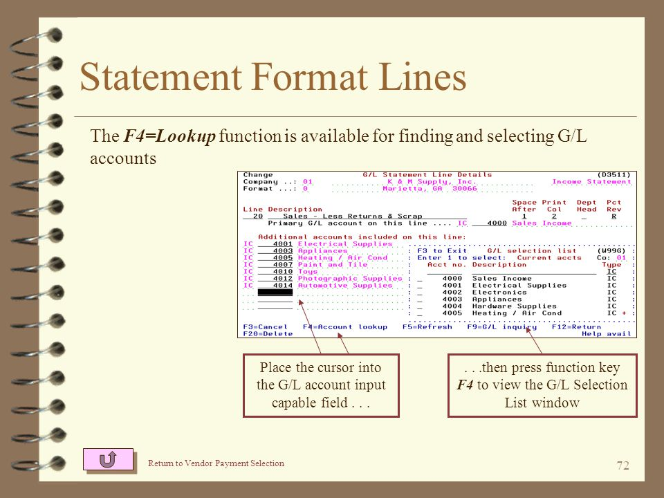 71 Statement Format Lines Format lines that qualify to contain G/L accounts, may include up a total of 73 G/L account numbers The user indicates the primary G/L account This format line is to be used as the base to the 100% revenue calculations Up to 72 other G/L accounts may be entered for a given format line The account type and description is indicated for each G/L account
