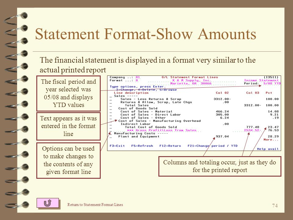 73 Statement Format-Show Amounts When requesting to view amounts in a statement format, the user is prompted for the fiscal period and year or YTD as of a fiscal period For income statements, the user enters the fiscal period, fiscal year, and whether or not YTD is desired.
