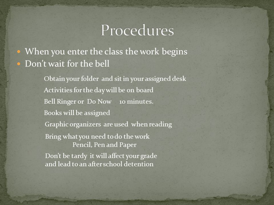 When you enter the class the work begins Don't wait for the bell Obtain your folder and sit in your assigned desk Activities for the day will be on board Bell Ringer or Do Now 10 minutes.