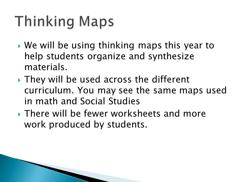  We will be using thinking maps this year to help students organize and synthesize materials.