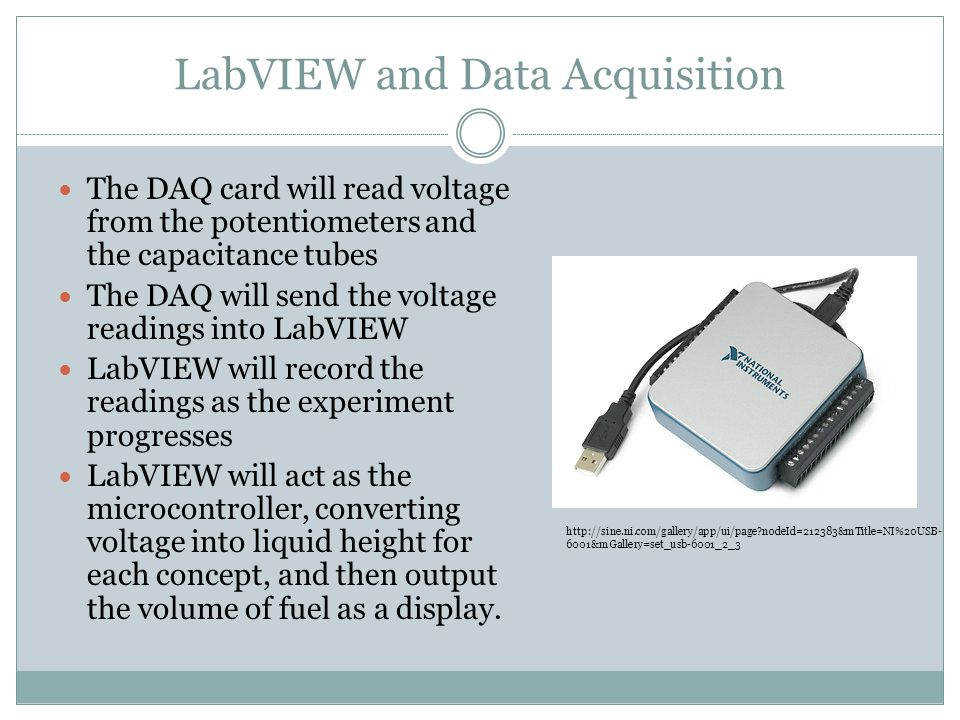 LabVIEW and Data Acquisition The DAQ card will read voltage from the potentiometers and the capacitance tubes The DAQ will send the voltage readings i