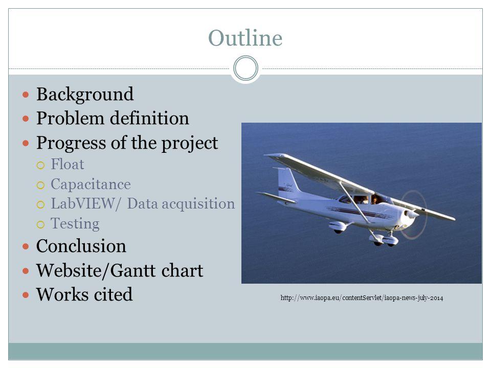 Outline Background Problem definition Progress of the project  Float  Capacitance  LabVIEW/ Data acquisition  Testing Conclusion Website/Gantt cha