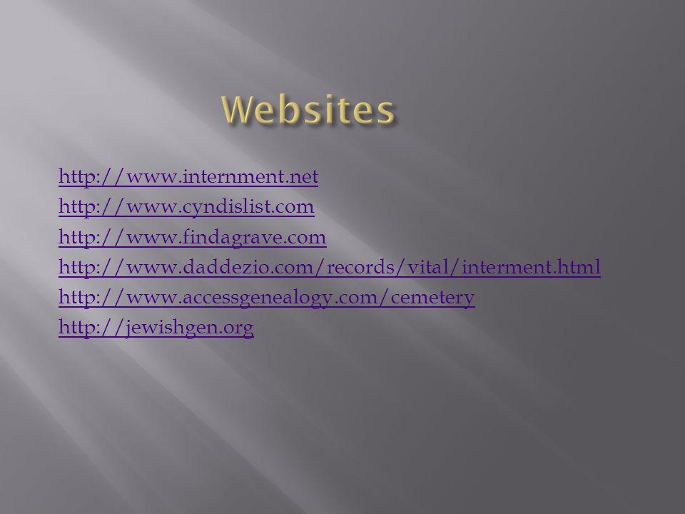 http://www.internment.net http://www.cyndislist.com http://www.findagrave.com http://www.daddezio.com/records/vital/interment.html http://www.accessge