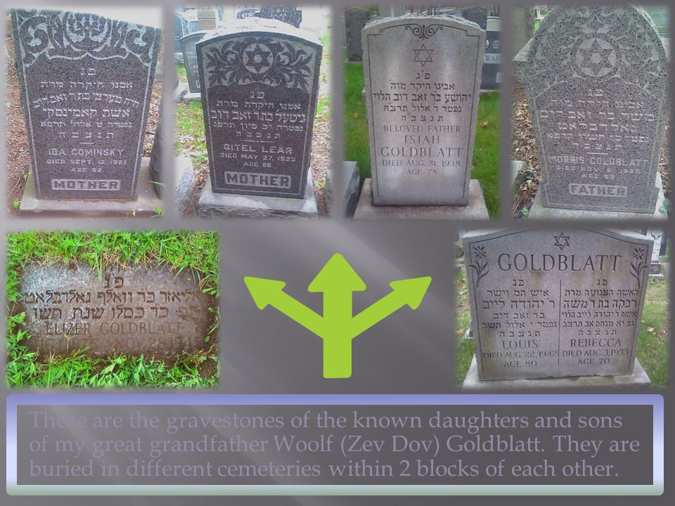These are the gravestones of the known daughters and sons of my great grandfather Woolf (Zev Dov) Goldblatt. They are buried in different cemeteries w