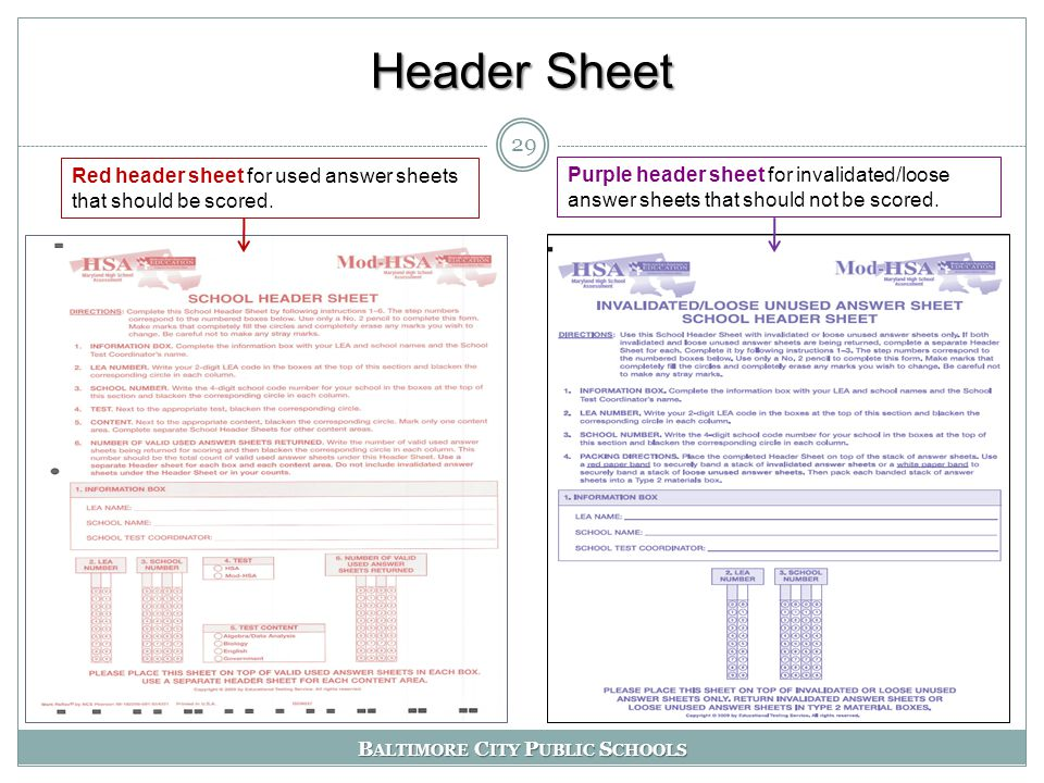 B ALTIMORE C ITY P UBLIC S CHOOLS Header Sheet 29 Red header sheet for used answer sheets that should be scored.