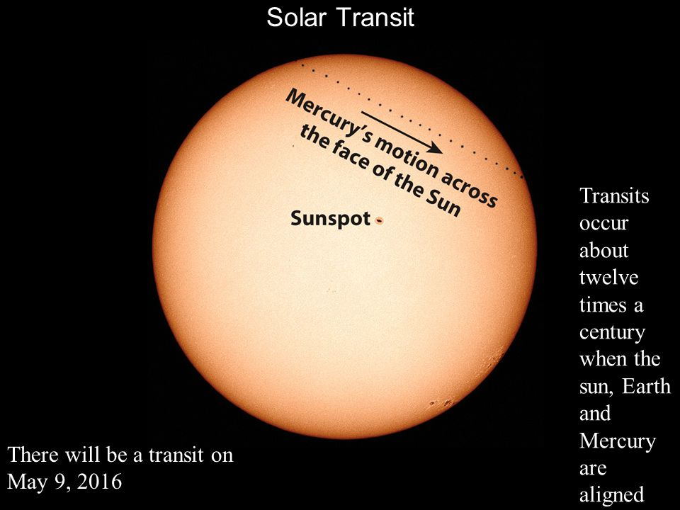 Solar Transit There will be a transit on May 9, 2016 Transits occur about twelve times a century when the sun, Earth and Mercury are aligned