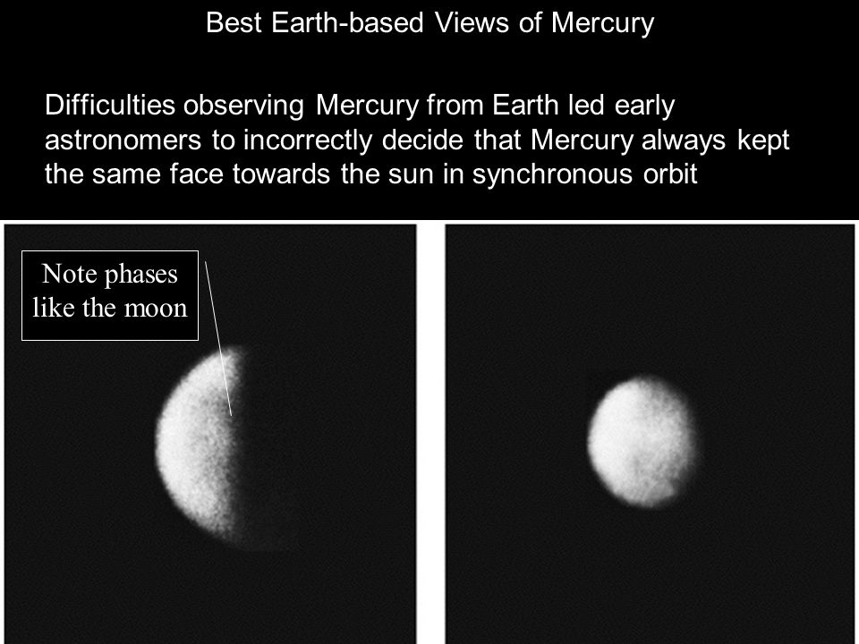 Best Earth-based Views of Mercury Difficulties observing Mercury from Earth led early astronomers to incorrectly decide that Mercury always kept the same face towards the sun in synchronous orbit Note phases like the moon