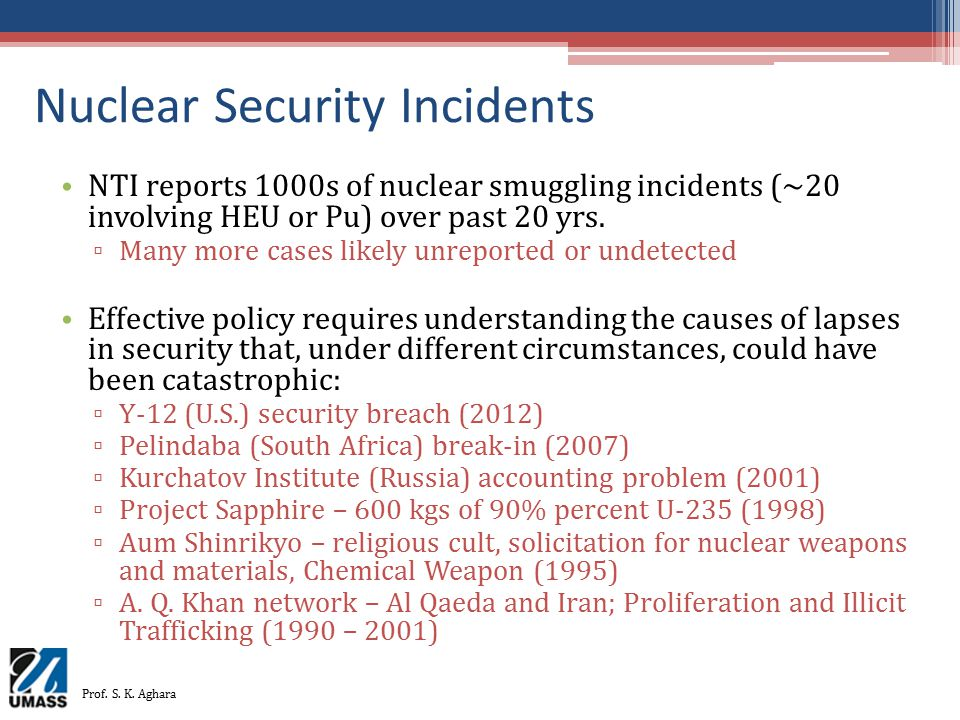 Nuclear Security Incidents NTI reports 1000s of nuclear smuggling incidents (~20 involving HEU or Pu) over past 20 yrs. ▫ Many more cases likely unrep